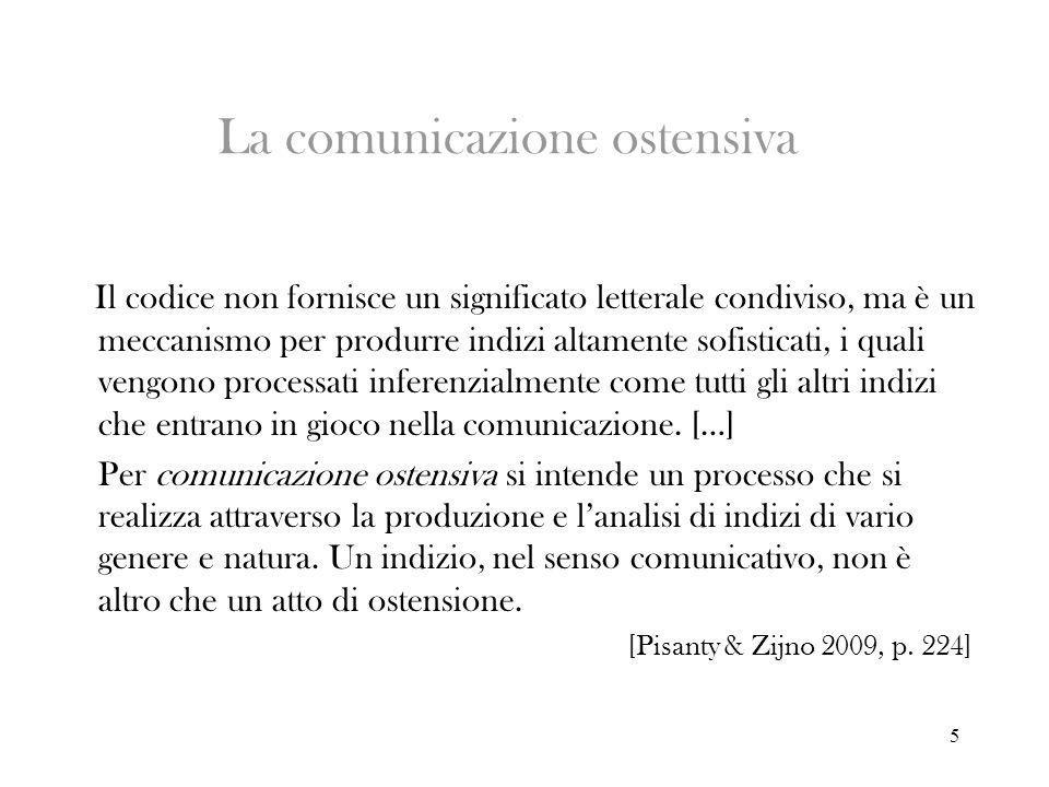 5 La comunicazione ostensiva Il codice non fornisce un significato letterale condiviso, ma è un meccanismo per produrre indizi altamente sofisticati,
