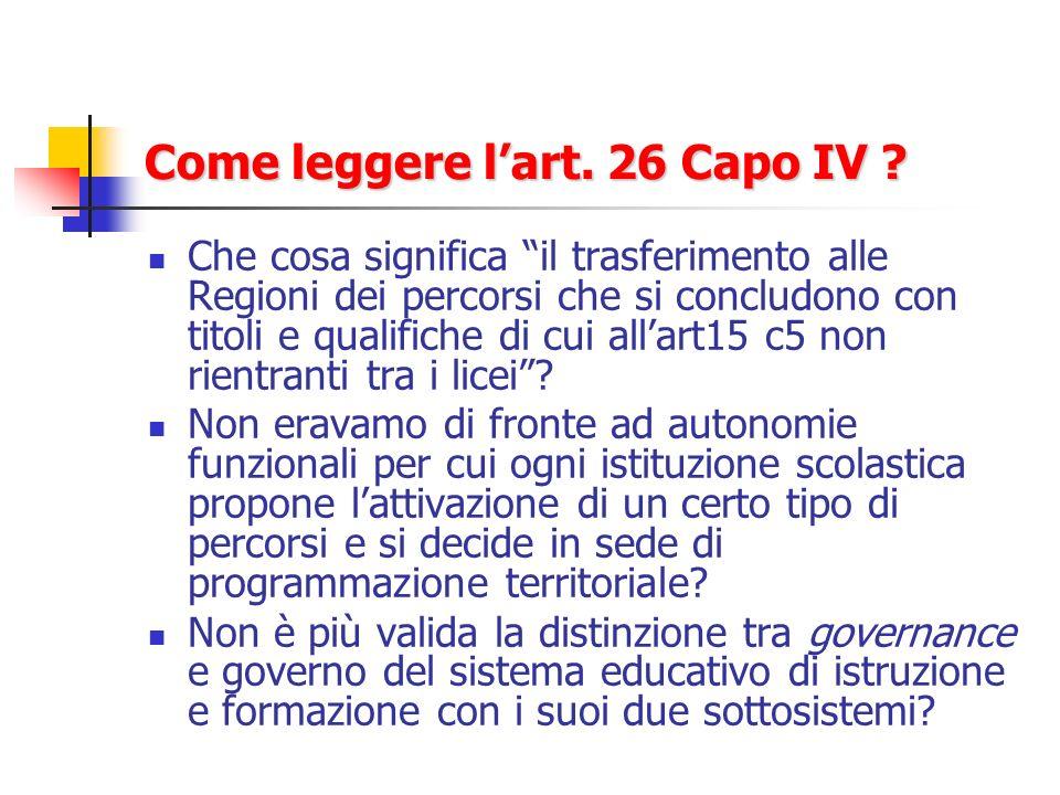 Come leggere lart. 26 Capo IV .