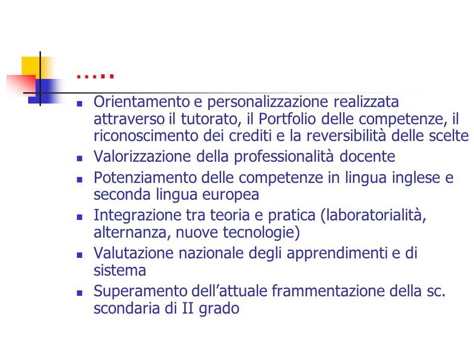 ….. Orientamento e personalizzazione realizzata attraverso il tutorato, il Portfolio delle competenze, il riconoscimento dei crediti e la reversibilit