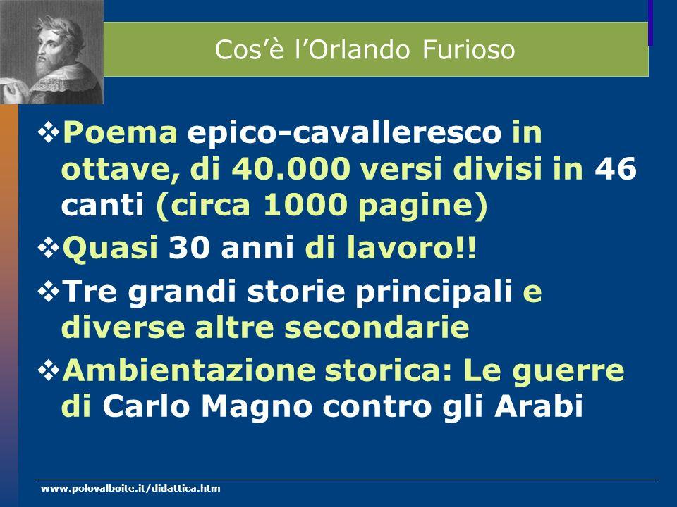 www.polovalboite.it/didattica.htm Cosè lOrlando Furioso Poema epico-cavalleresco in ottave, di 40.000 versi divisi in 46 canti (circa 1000 pagine) Qua