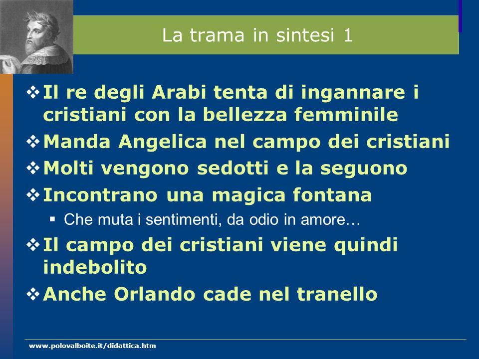 www.polovalboite.it/didattica.htm La trama in sintesi 1 Il re degli Arabi tenta di ingannare i cristiani con la bellezza femminile Manda Angelica nel