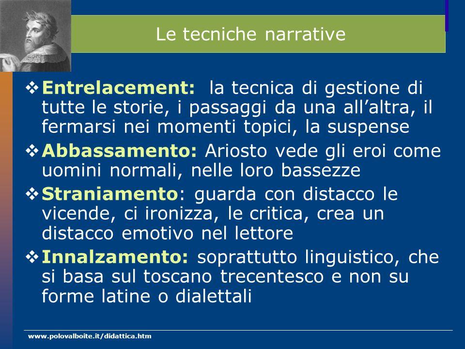 www.polovalboite.it/didattica.htm Le tecniche narrative Entrelacement: la tecnica di gestione di tutte le storie, i passaggi da una allaltra, il ferma
