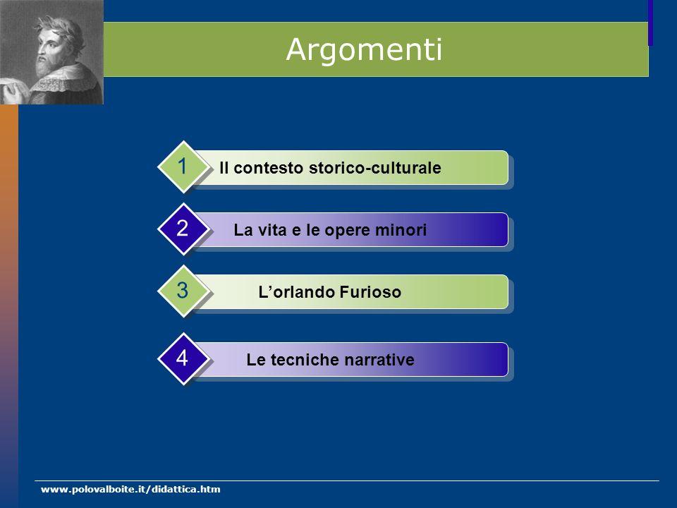 www.polovalboite.it/didattica.htm Argomenti Il contesto storico-culturale 1 La vita e le opere minori 2 Lorlando Furioso 3 Le tecniche narrative 4