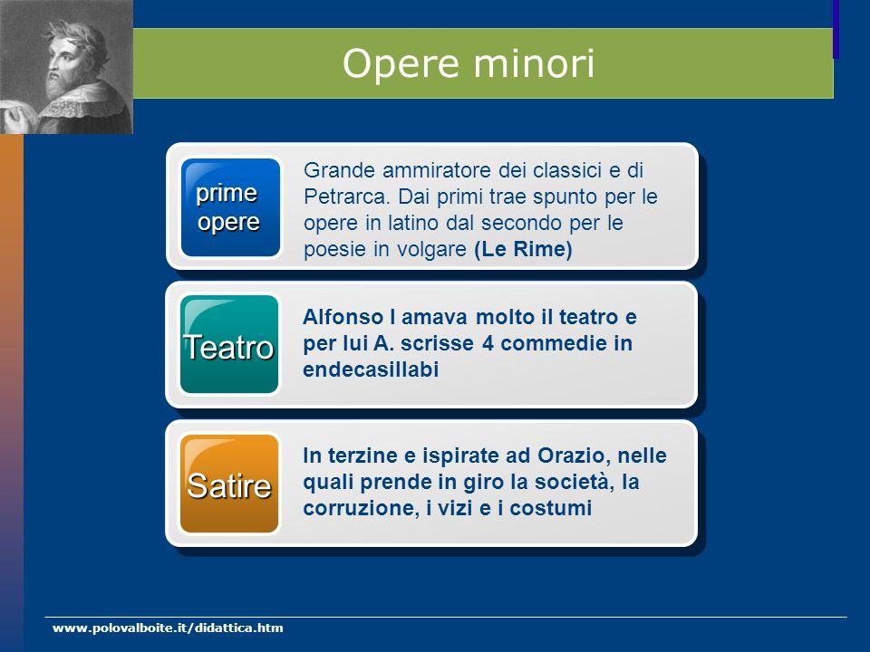 www.polovalboite.it/didattica.htm Opere minori prime opere Grande ammiratore dei classici e di Petrarca. Dai primi trae spunto per le opere in latino