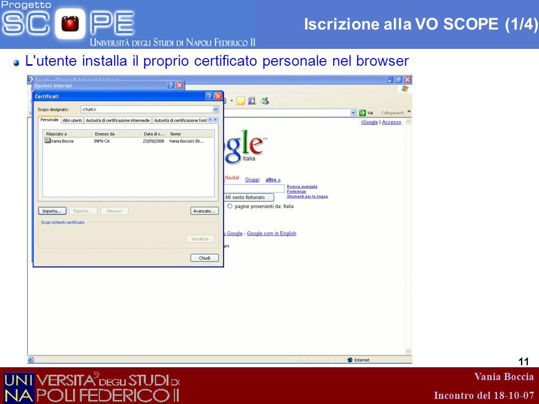 Vania Boccia Incontro del 18-10-07 11 Iscrizione alla VO SCOPE (1/4) L'utente installa il proprio certificato personale nel browser