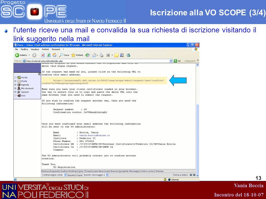 Vania Boccia Incontro del 18-10-07 13 Iscrizione alla VO SCOPE (3/4) l'utente riceve una mail e convalida la sua richiesta di iscrizione visitando il