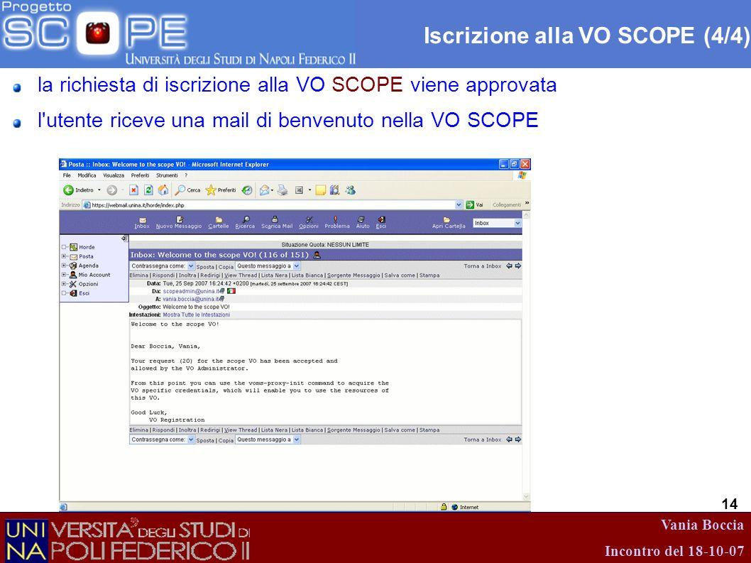 Vania Boccia Incontro del 18-10-07 14 Iscrizione alla VO SCOPE (4/4) la richiesta di iscrizione alla VO SCOPE viene approvata l'utente riceve una mail