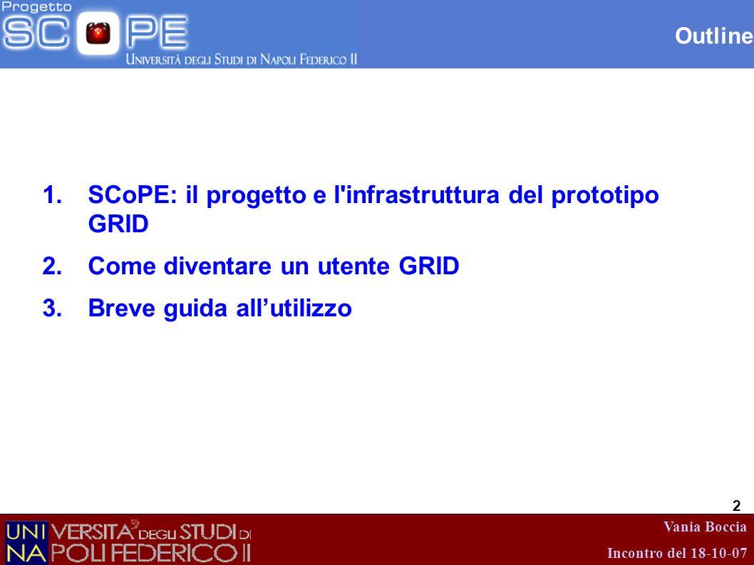 Vania Boccia Incontro del 18-10-07 2 Outline 1.SCoPE: il progetto e l'infrastruttura del prototipo GRID 2.Come diventare un utente GRID 3.Breve guida