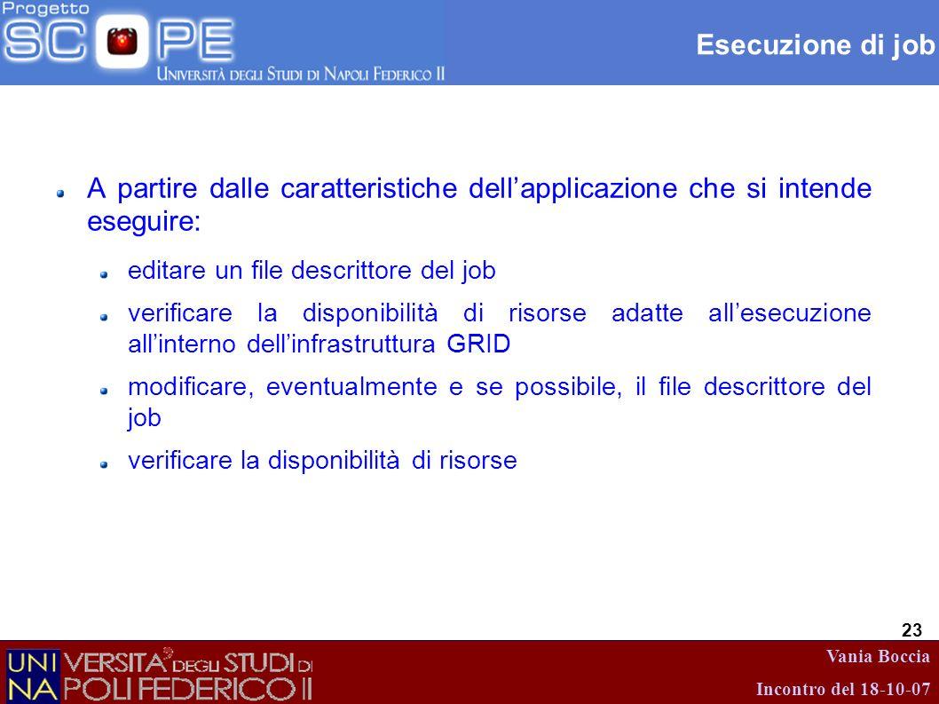 Vania Boccia Incontro del 18-10-07 23 Esecuzione di job A partire dalle caratteristiche dellapplicazione che si intende eseguire: editare un file desc