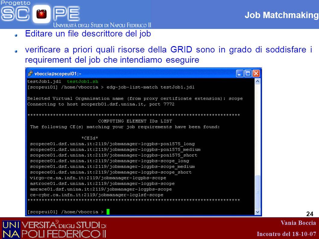 Vania Boccia Incontro del 18-10-07 24 Job Matchmaking Editare un file descrittore del job verificare a priori quali risorse della GRID sono in grado d