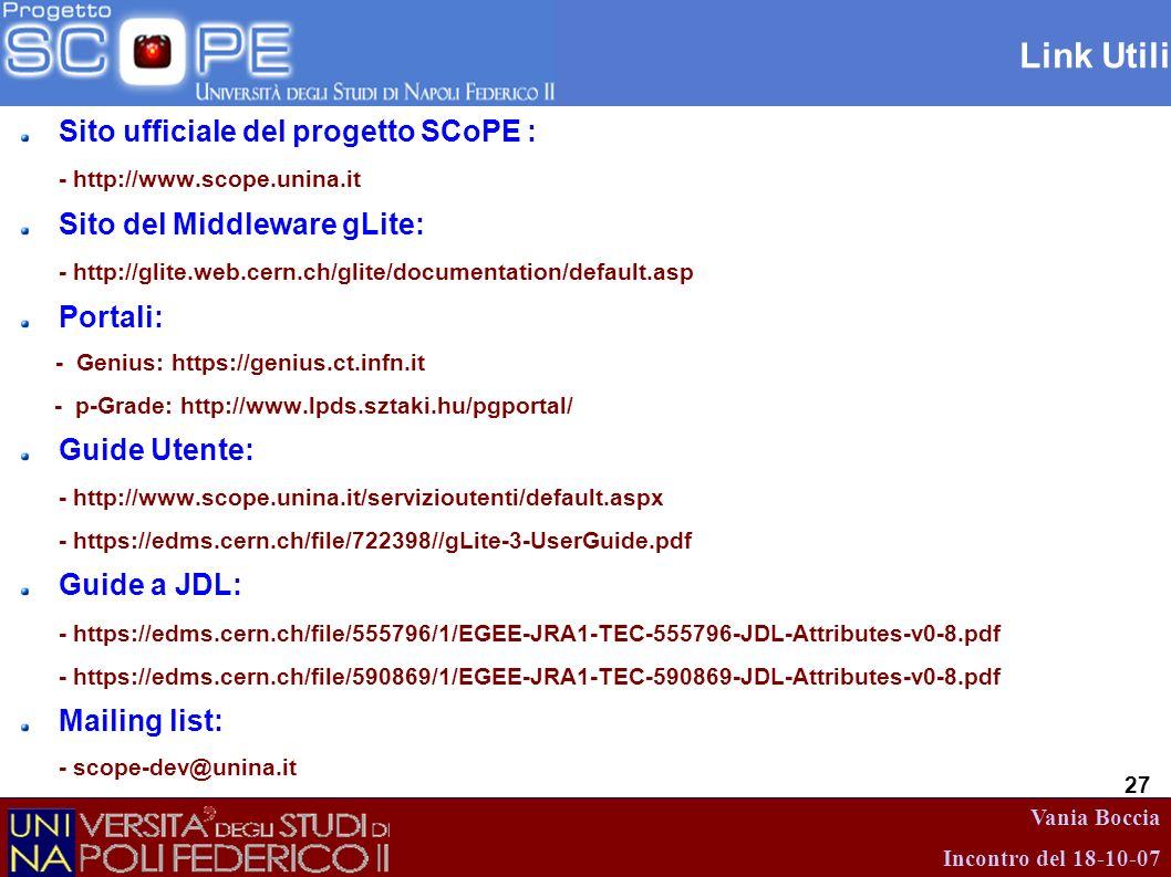 Vania Boccia Incontro del 18-10-07 27 Link Utili Sito ufficiale del progetto SCoPE : - http://www.scope.unina.it Sito del Middleware gLite: - http://g