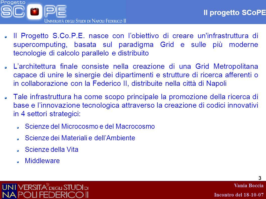 Vania Boccia Incontro del 18-10-07 4 Stato dellinfrastruttura Attualmente, il progetto, mette a disposizione un prototipo GRID, completo di risorse e servizi, conforme allinfrastruttura finale.