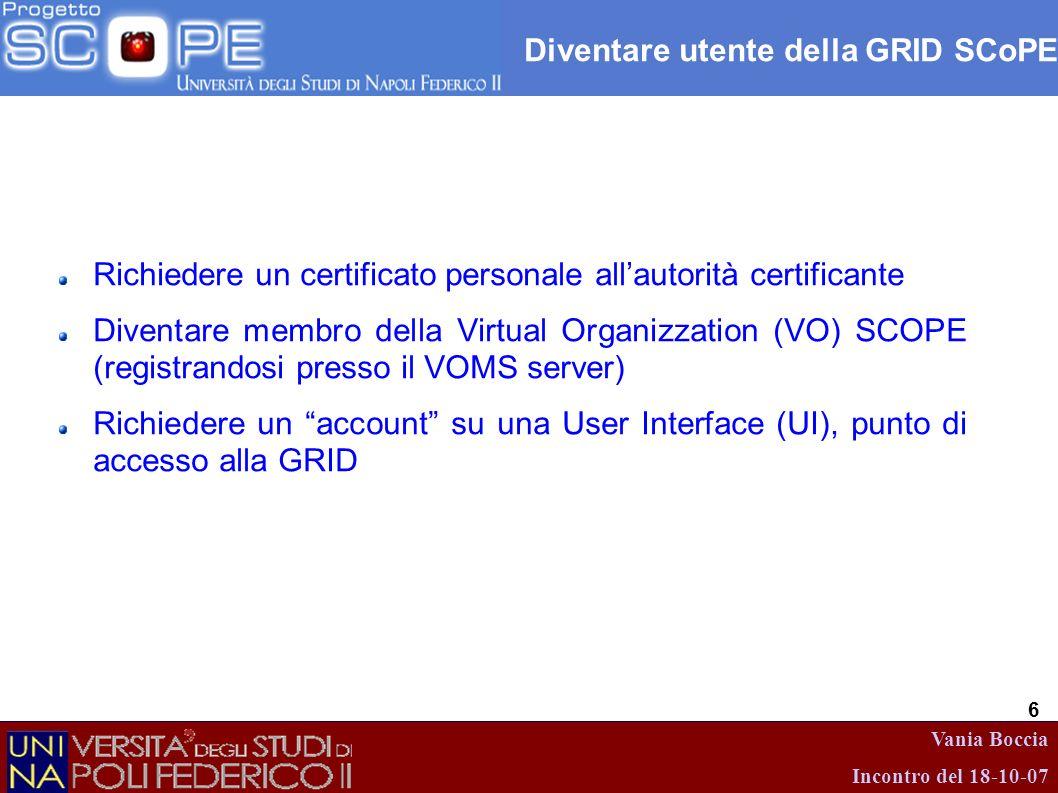 Vania Boccia Incontro del 18-10-07 6 Diventare utente della GRID SCoPE Richiedere un certificato personale allautorità certificante Diventare membro d