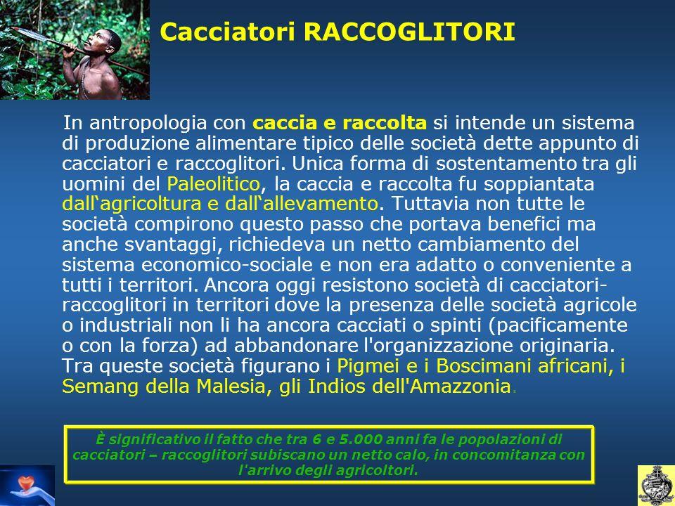 Cacciatori RACCOGLITORI In antropologia con caccia e raccolta si intende un sistema di produzione alimentare tipico delle società dette appunto di cac