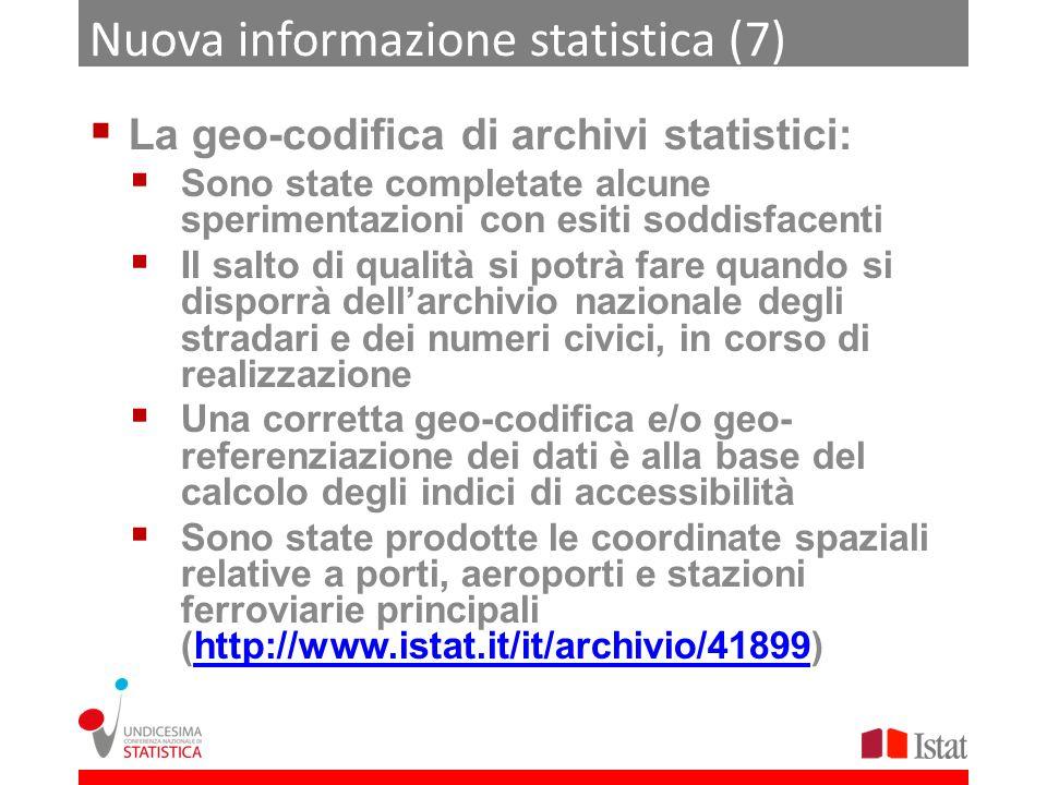 Nuova informazione statistica (7) La geo-codifica di archivi statistici: Sono state completate alcune sperimentazioni con esiti soddisfacenti Il salto
