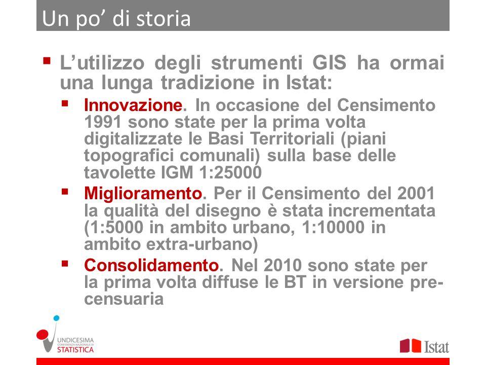 Un po di storia Lutilizzo degli strumenti GIS ha ormai una lunga tradizione in Istat: Innovazione. In occasione del Censimento 1991 sono state per la