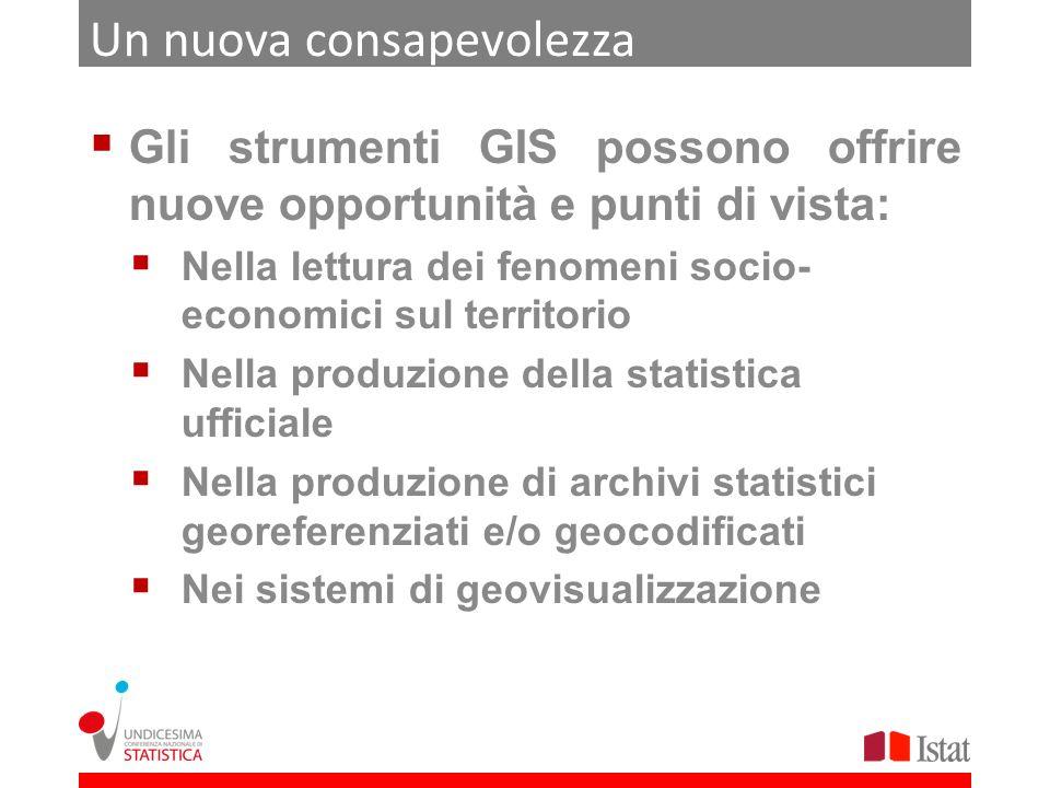 Le tre «visioni» dellIstat La strategia dellIstat per il prossimo futuro si può riassumere in tre punti: Il consolidamento dei sistemi di geovisualizzazione integrata di dati geografici e statistici (GISTAT) Diffusione dei dati geografici (BT definitive, limiti amministrativi) attraverso file scaricabili e/o servizi per linteroperabilità (GeoWebServices) Diffusione di nuova informazione statistica come prodotto di analisi su dati geografici