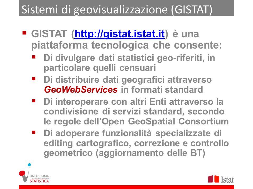 Sistemi di geovisualizzazione (GISTAT) GISTAT (http://gistat.istat.it) è una piattaforma tecnologica che consente:http://gistat.istat.it Di divulgare