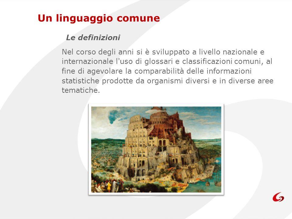 Un linguaggio comune Le definizioni Nel corso degli anni si è sviluppato a livello nazionale e internazionale l'uso di glossari e classificazioni comu
