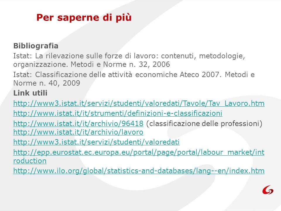 Bibliografia Istat: La rilevazione sulle forze di lavoro: contenuti, metodologie, organizzazione. Metodi e Norme n. 32, 2006 Istat: Classificazione de