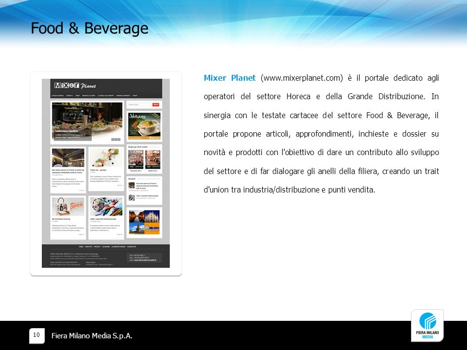 Food & Beverage Fiera Milano Media S.p.A.