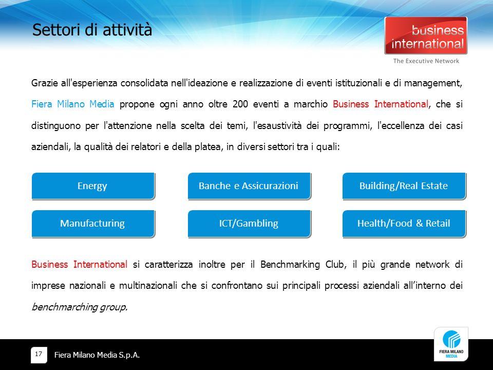 Settori di attività Fiera Milano Media S.p.A. 17 Grazie all'esperienza consolidata nell'ideazione e realizzazione di eventi istituzionali e di managem
