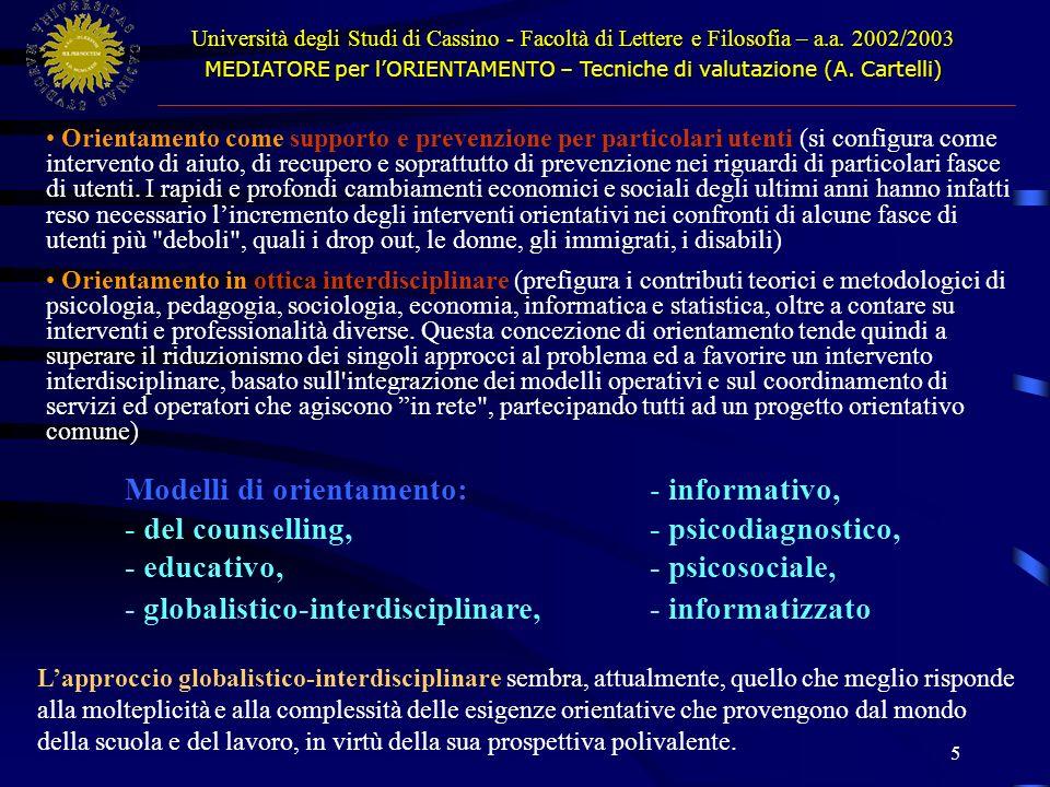 5 Università degli Studi di Cassino - Facoltà di Lettere e Filosofia – a.a.