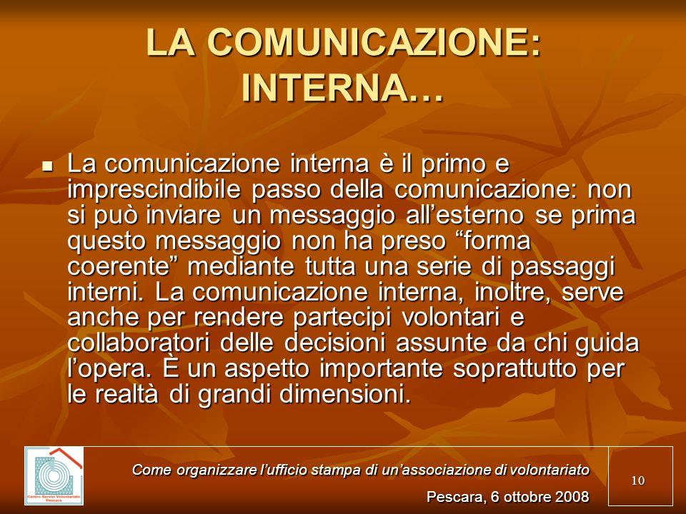 10 LA COMUNICAZIONE: INTERNA… La comunicazione interna è il primo e imprescindibile passo della comunicazione: non si può inviare un messaggio alleste