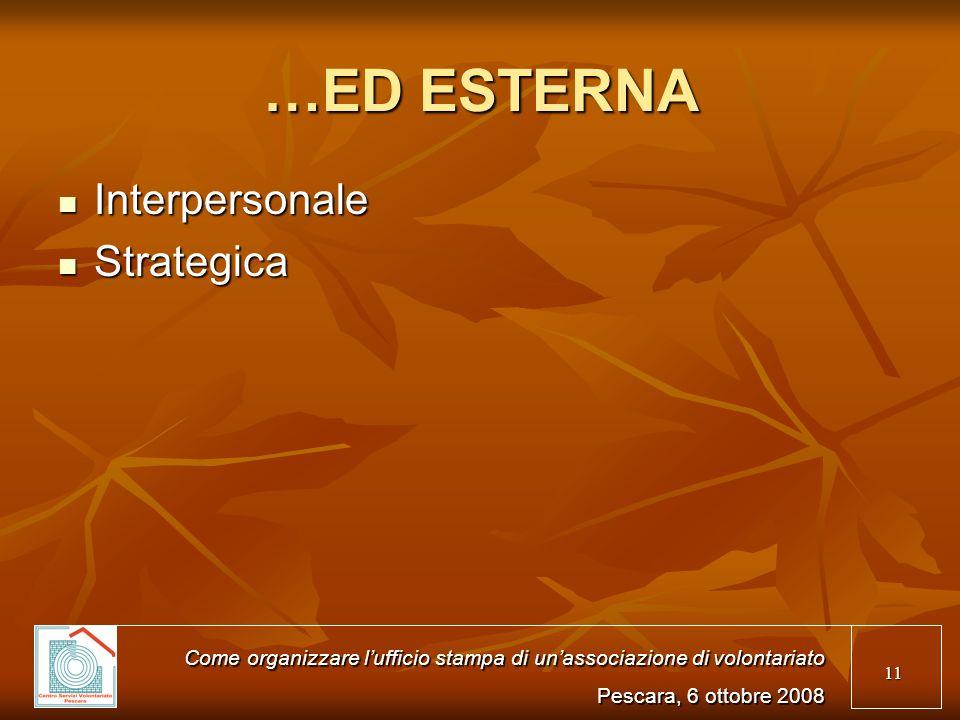 11 …ED ESTERNA Interpersonale Interpersonale Strategica Strategica Come organizzare lufficio stampa di unassociazione di volontariato Pescara, 6 ottob