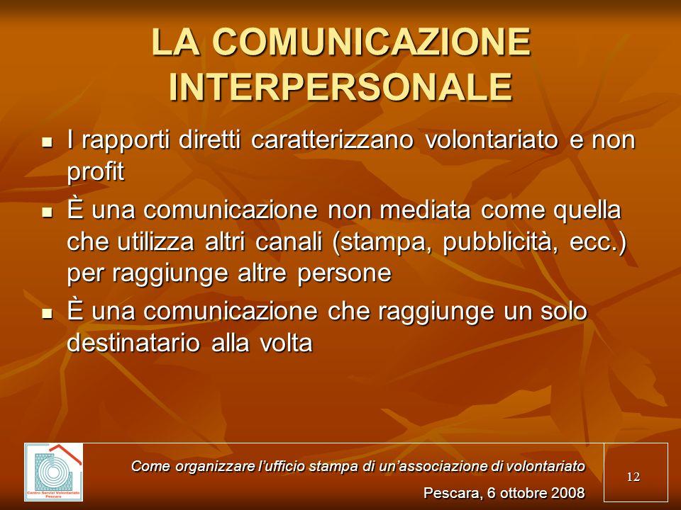 12 LA COMUNICAZIONE INTERPERSONALE I rapporti diretti caratterizzano volontariato e non profit I rapporti diretti caratterizzano volontariato e non pr