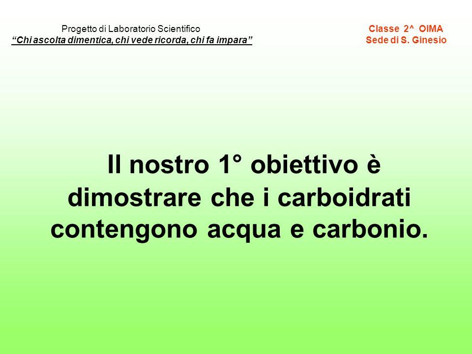 Il nostro 1° obiettivo è dimostrare che i carboidrati contengono acqua e carbonio. Classe 2^ OIMA Sede di S. Ginesio Chi ascolta dimentica, chi vede r