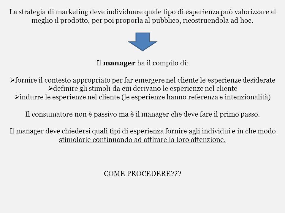 La strategia di marketing deve individuare quale tipo di esperienza può valorizzare al meglio il prodotto, per poi proporla al pubblico, ricostruendol