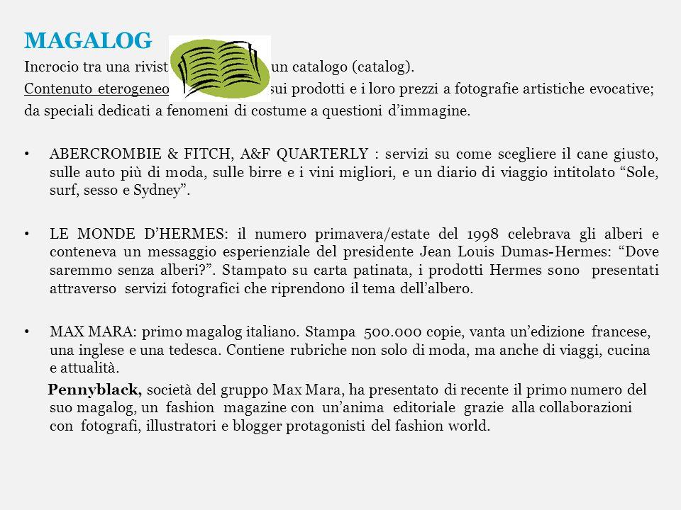 MAGALOG Incrocio tra una rivista (magazine) e un catalogo (catalog). Contenuto eterogeneo: dagli articoli sui prodotti e i loro prezzi a fotografie ar