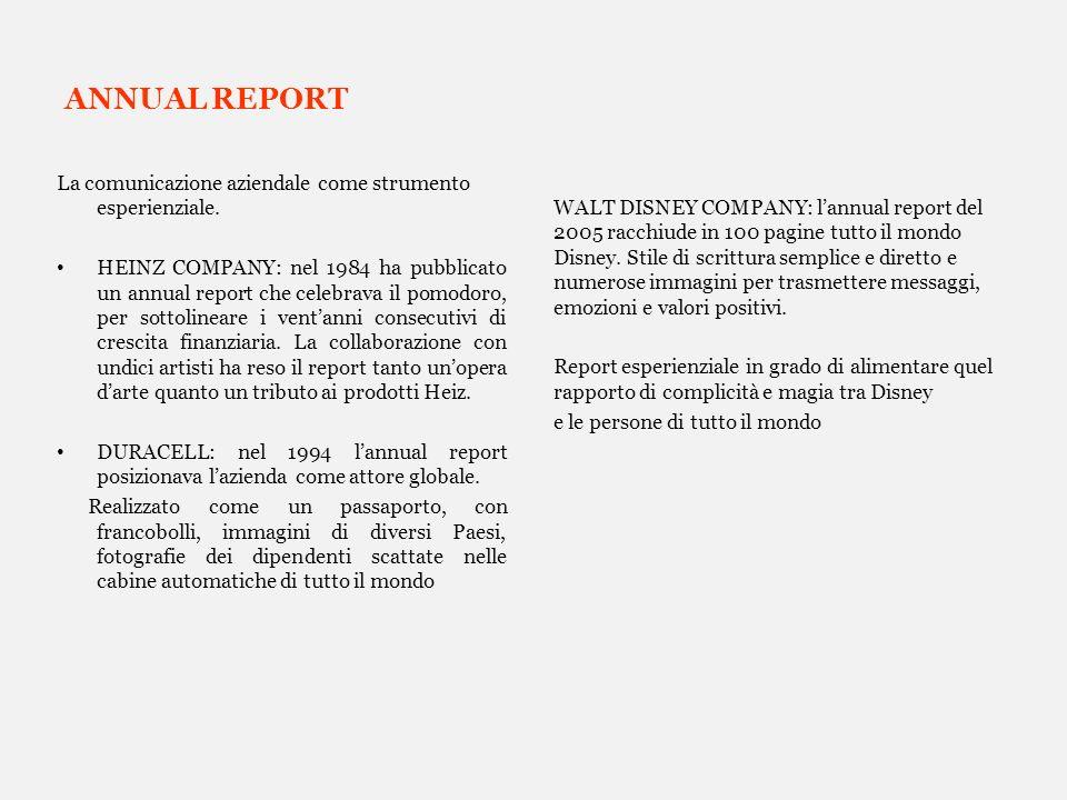 ANNUAL REPORT La comunicazione aziendale come strumento esperienziale. HEINZ COMPANY: nel 1984 ha pubblicato un annual report che celebrava il pomodor
