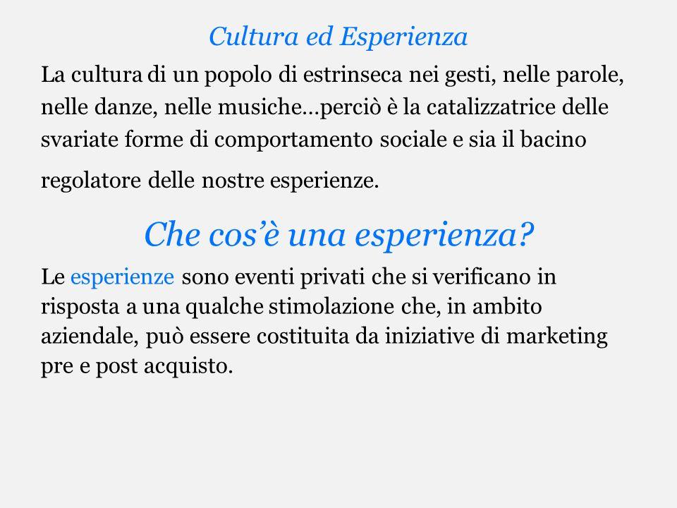 Cultura ed Esperienza La cultura di un popolo di estrinseca nei gesti, nelle parole, nelle danze, nelle musiche…perciò è la catalizzatrice delle svari