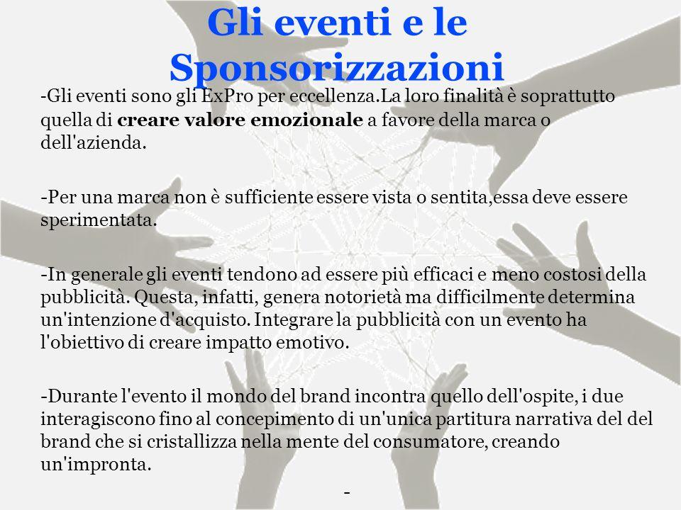 Gli eventi e le Sponsorizzazioni - Gli eventi sono gli ExPro per eccellenza.La loro finalità è soprattutto quella di creare valore emozionale a favore