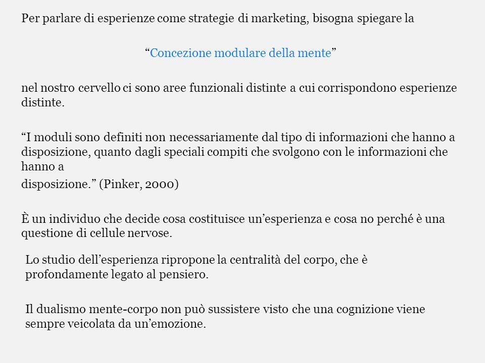 Per parlare di esperienze come strategie di marketing, bisogna spiegare la Concezione modulare della mente nel nostro cervello ci sono aree funzionali