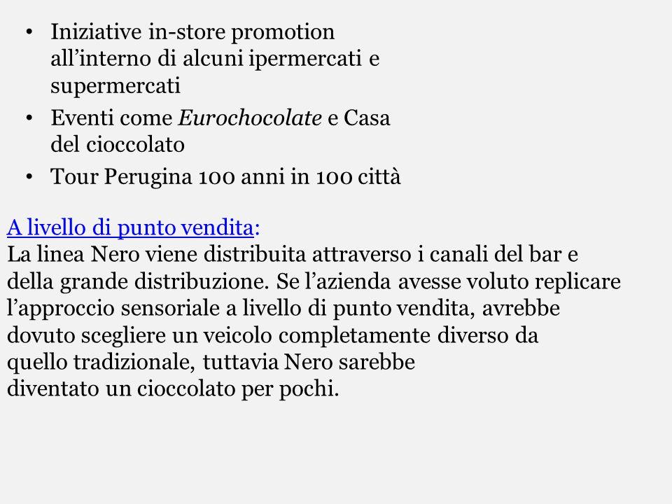 Iniziative in-store promotion allinterno di alcuni ipermercati e supermercati Eventi come Eurochocolate e Casa del cioccolato Tour Perugina 100 anni i