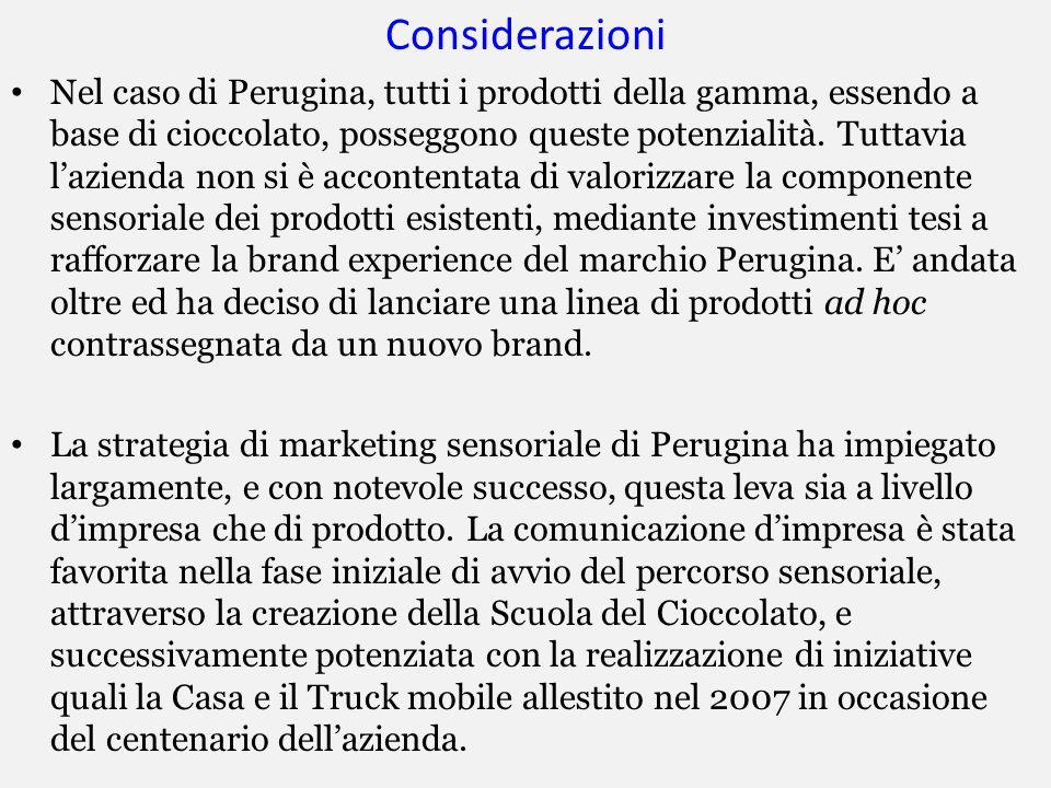 Considerazioni Nel caso di Perugina, tutti i prodotti della gamma, essendo a base di cioccolato, posseggono queste potenzialità. Tuttavia lazienda non