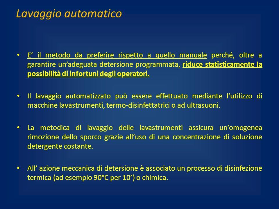 Lavaggio automatico E il metodo da preferire rispetto a quello manuale perché, oltre a garantire unadeguata detersione programmata, riduce statisticam