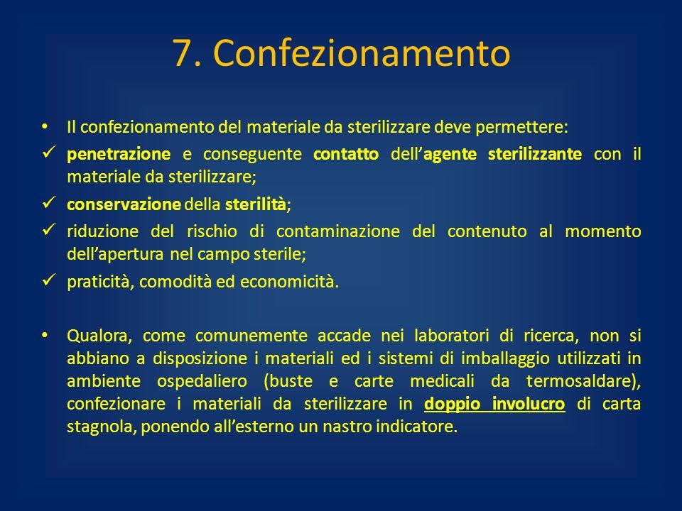 7. Confezionamento Il confezionamento del materiale da sterilizzare deve permettere: penetrazione e conseguente contatto dellagente sterilizzante con