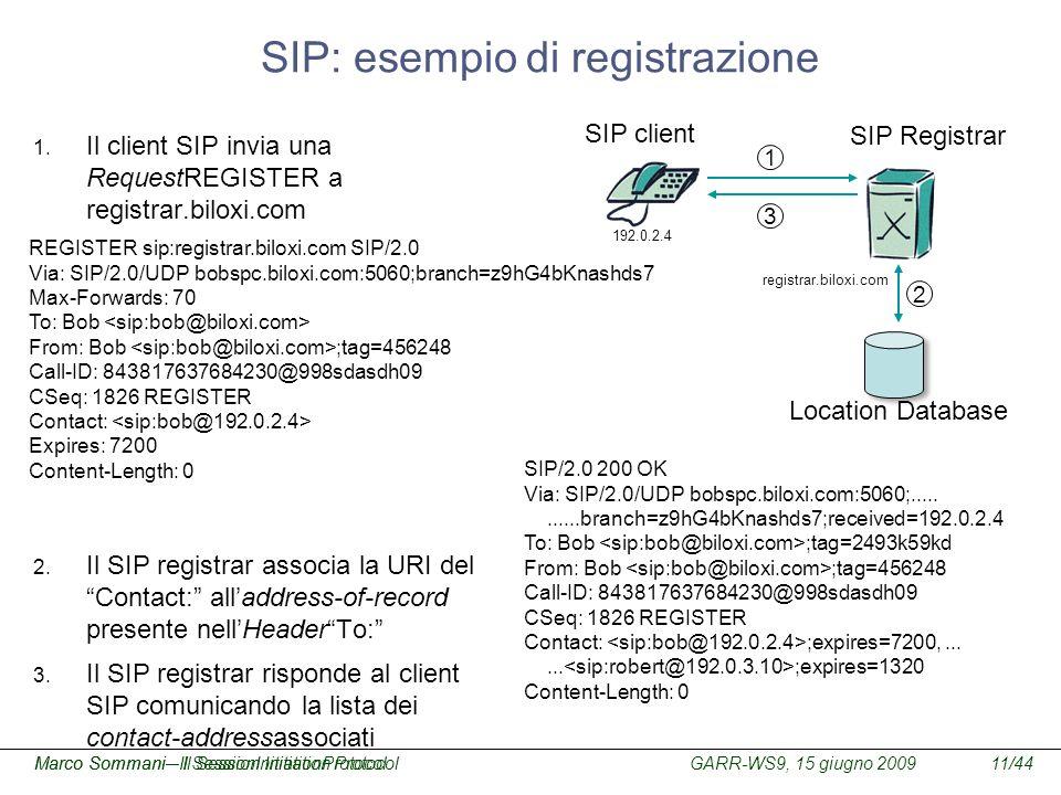 GARR-WS9, 15 giugno 2009Marco Sommani – Il Session Initiation Protocol11/44Marco Sommani– Il SessionInitiationProtocol SIP: esempio di registrazione 1