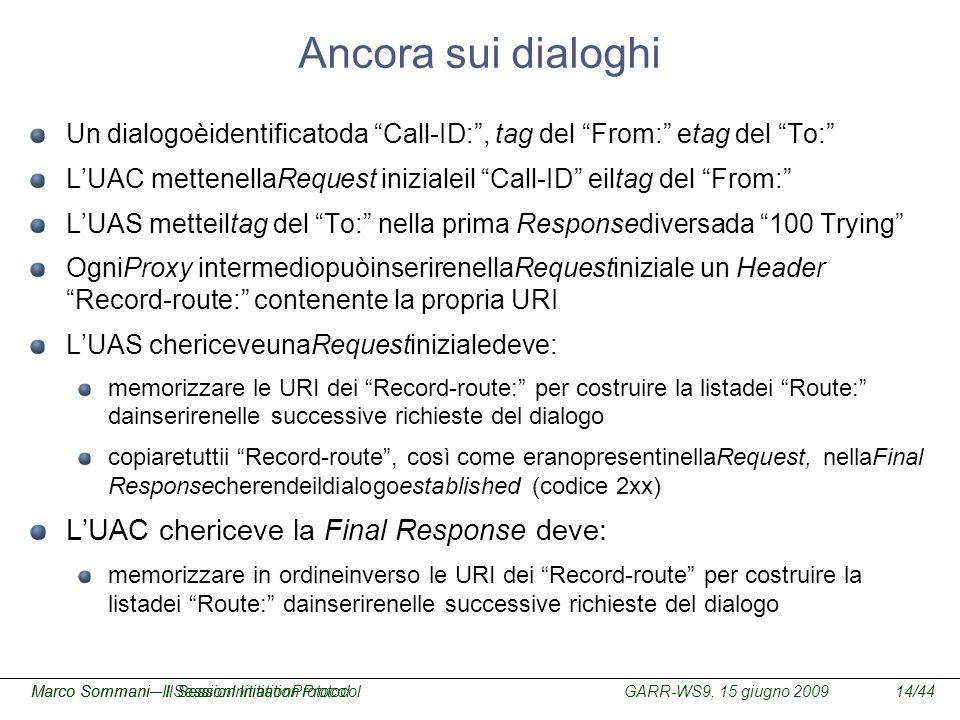 GARR-WS9, 15 giugno 2009Marco Sommani – Il Session Initiation Protocol14/44Marco Sommani– Il SessionInitiationProtocol Ancora sui dialoghi Un dialogoè