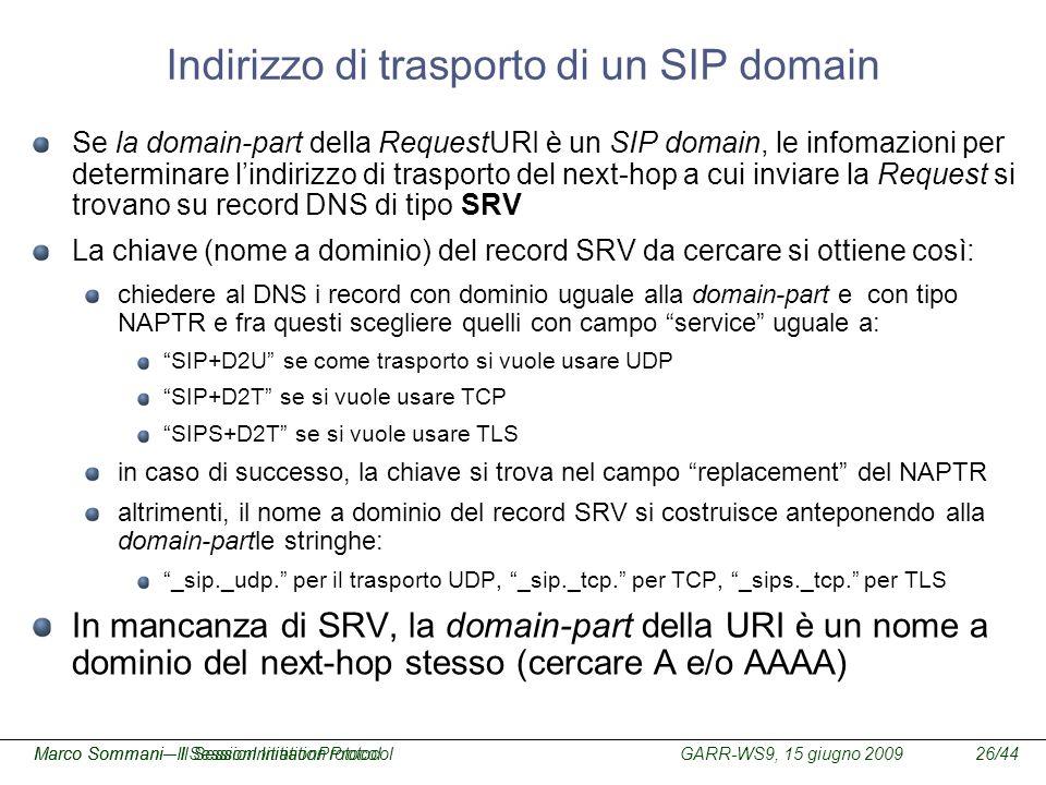 GARR-WS9, 15 giugno 2009Marco Sommani – Il Session Initiation Protocol26/44Marco Sommani– Il SessionInitiationProtocol Indirizzo di trasporto di un SI
