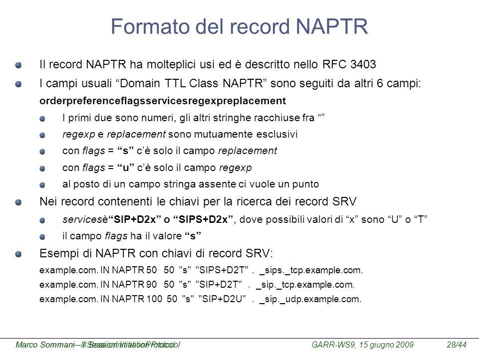GARR-WS9, 15 giugno 2009Marco Sommani – Il Session Initiation Protocol28/44Marco Sommani– Il SessionInitiationProtocol Formato del record NAPTR Il rec