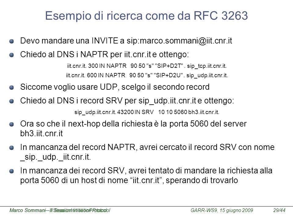 GARR-WS9, 15 giugno 2009Marco Sommani – Il Session Initiation Protocol29/44Marco Sommani– Il SessionInitiationProtocol Esempio di ricerca come da RFC