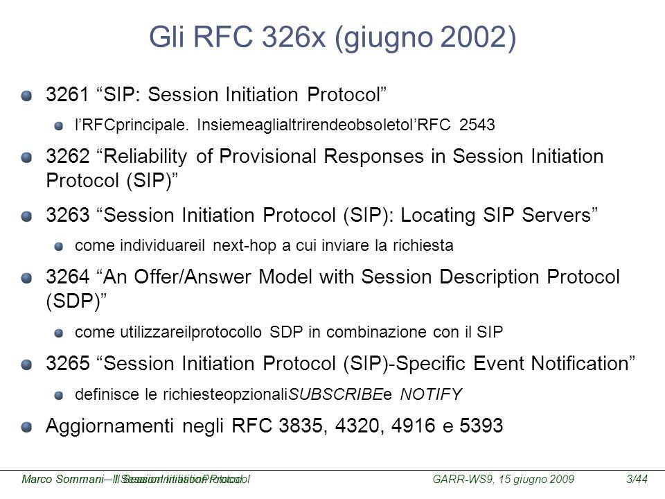 GARR-WS9, 15 giugno 2009Marco Sommani – Il Session Initiation Protocol3/44Marco Sommani– Il SessionInitiationProtocol Gli RFC 326x (giugno 2002) 3261