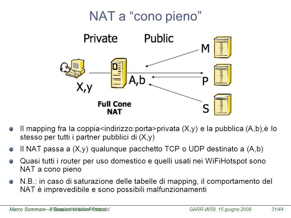 GARR-WS9, 15 giugno 2009Marco Sommani – Il Session Initiation Protocol31/44Marco Sommani– Il SessionInitiationProtocol NAT a cono pieno Il mapping fra