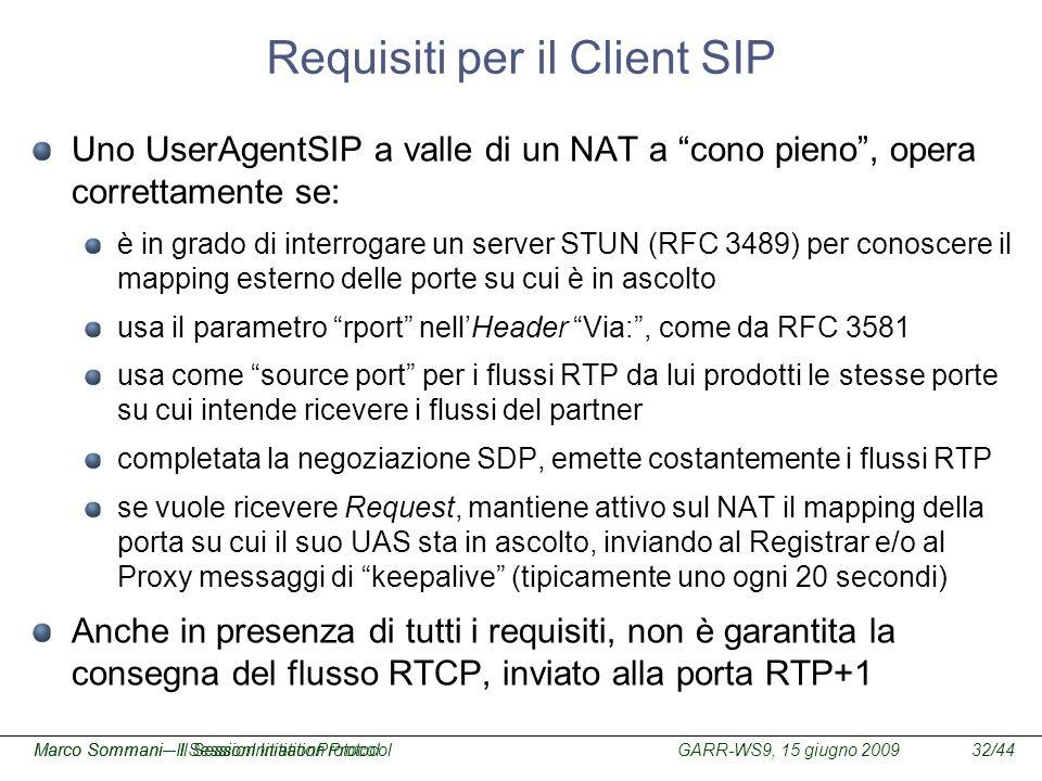 GARR-WS9, 15 giugno 2009Marco Sommani – Il Session Initiation Protocol32/44Marco Sommani– Il SessionInitiationProtocol Requisiti per il Client SIP Uno