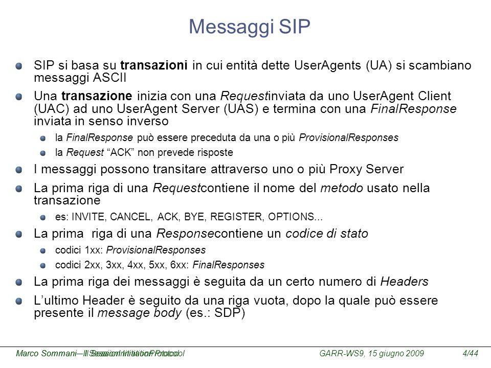 GARR-WS9, 15 giugno 2009Marco Sommani – Il Session Initiation Protocol4/44Marco Sommani– Il SessionInitiationProtocol Messaggi SIP SIP si basa su tran